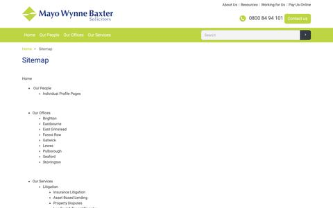 Screenshot of Site Map Page mayowynnebaxter.co.uk - Site Map - Mayo Wynne Baxter - captured Nov. 6, 2018