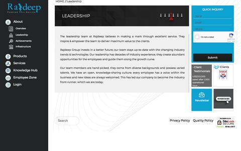 Screenshot of Team Page rajdeep.co.in - Rajdeep Team - Highly skilled and experienced leaders | - captured Nov. 4, 2017