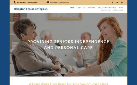 Screenshot of Home Page hamptonseniorlivingtexas.com - Hampton Senior Living LLC in Round Rock, TX - captured Sept. 26, 2018
