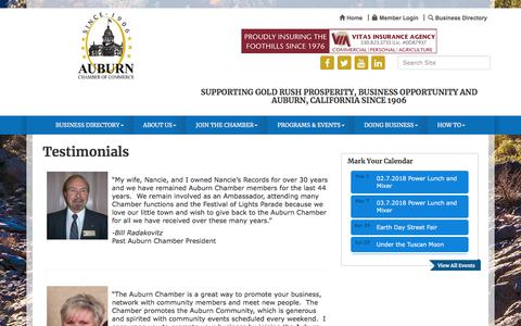 Screenshot of Testimonials Page auburnchamber.net - Testimonials - Auburn Chamber of Commerce- CA, CA - captured Jan. 25, 2018