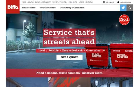 Screenshot of Home Page biffa.co.uk - Welcome to Biffa – No.1 for Business Waste - captured July 28, 2016