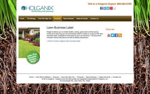 Screenshot of holganix.com - Business Label - captured March 19, 2016