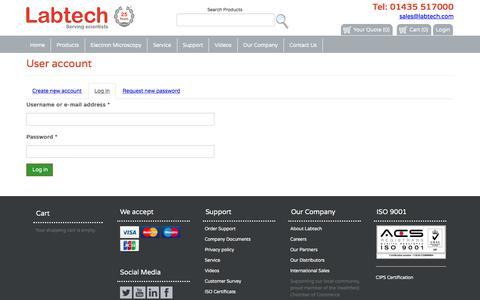 Screenshot of Login Page labtech.com - User account | labtech.com - captured Sept. 26, 2018