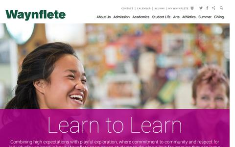 Screenshot of Home Page waynflete.org - Waynflete  - Homepage - captured Feb. 17, 2016