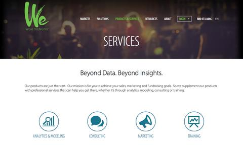 Screenshot of Services Page wealthengine.com - Services | WealthEngine - captured Oct. 28, 2014