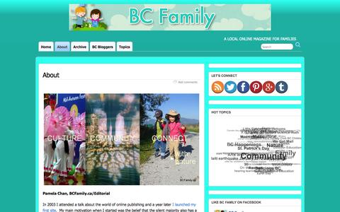 Screenshot of About Page bcfamily.ca - About | BC Family - captured Oct. 4, 2014