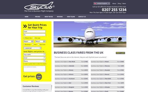 Screenshot of Pricing Page skyclub.com - SKYCLUB.COM ® | Business Class from the UK - captured Oct. 7, 2014