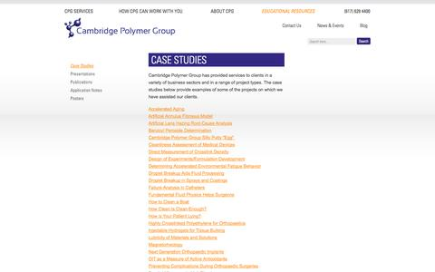Screenshot of Case Studies Page campoly.com - Cambridge Polymer Group :: Case Studies - captured Oct. 1, 2014