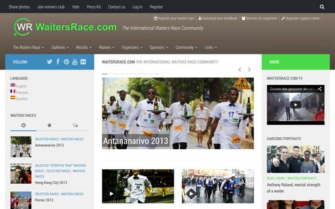 Screenshot of Home Page waitersrace.com - WaitersRace.com - The International Waiters Race Community - captured Oct. 6, 2014