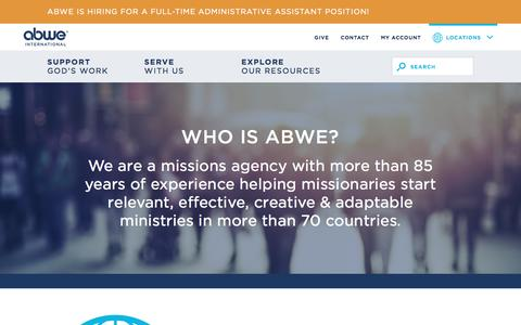 Screenshot of About Page abwe.org - Start Planning   ABWE Christian Missions - captured May 28, 2017