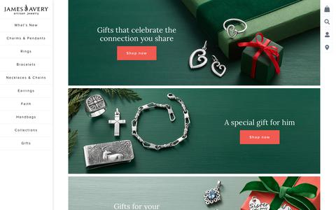 Screenshot of Home Page jamesavery.com - James Avery Artisan Jewelry: Charms, Rings, Bracelets & More - James Avery - captured Nov. 1, 2019