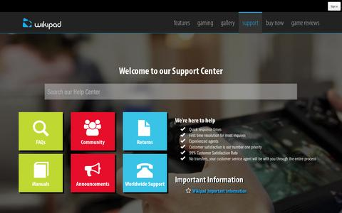 Screenshot of Support Page wikipad.com - Support Center - captured Sept. 23, 2014