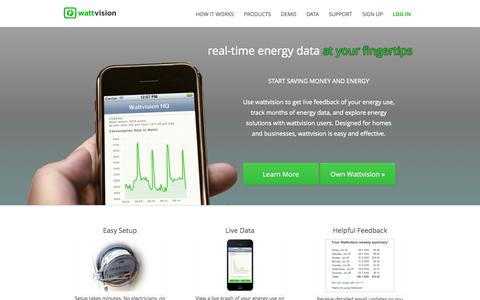 Screenshot of Home Page wattvision.com - wattvision | real-time energy monitoring sensors and software for businesses and homes. - captured Sept. 17, 2014