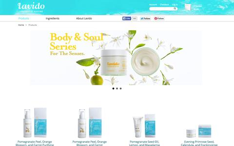 Screenshot of Products Page lavido.com - Products - captured Sept. 26, 2014