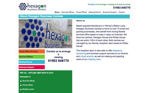 Screenshot of About Page hexagonbusinesscentres.co.uk - About Hexagon Business Centres | www.hexagonbusinesscentres.co.uk - captured Sept. 30, 2014
