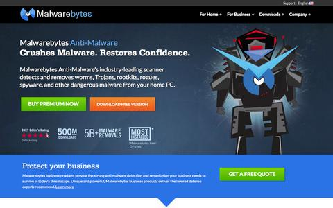 Screenshot of Home Page malwarebytes.org - Malwarebytes | Free Anti-Malware & Internet Security Software - captured Aug. 2, 2015