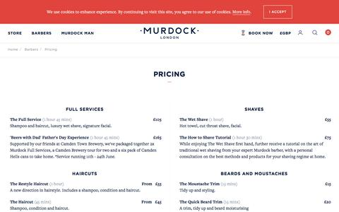 Screenshot of Pricing Page murdocklondon.com - Pricing - captured Sept. 23, 2018
