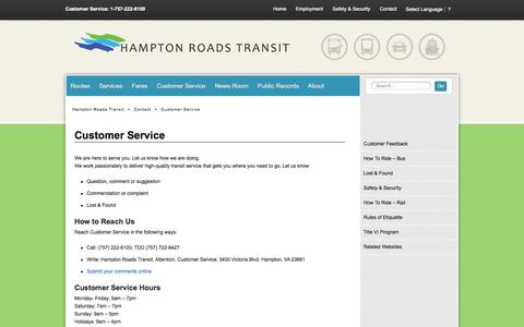 Screenshot of Support Page gohrt.com - Customer Service - Hampton Roads Transit - Our mission is to serve the community through high quality, safe, efficient and sustainable regional transportation services. - captured Oct. 1, 2014
