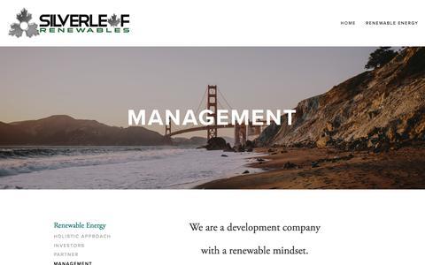 Screenshot of Team Page thesilverleaf.net - Management — SilverLeaf Renewables - captured Dec. 3, 2016