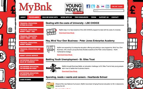 Screenshot of Case Studies Page mybnk.org - MyBnk - Financial Education Case Studies - captured Oct. 29, 2014