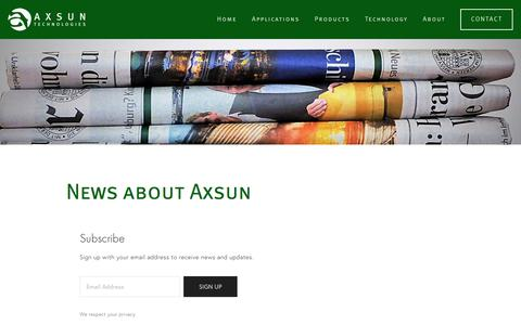 Screenshot of Press Page axsun.com - Press & Announcements — Axsun Technologies - captured July 3, 2016