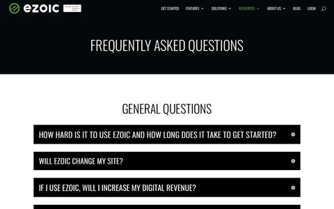 Screenshot of FAQ Page ezoic.com - Frequently Asked Questions | Ezoic - captured Jan. 18, 2020