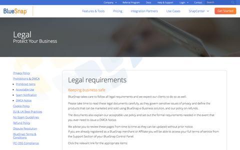 Screenshot of Terms Page bluesnap.com - Legal | BlueSnap - captured Nov. 22, 2016