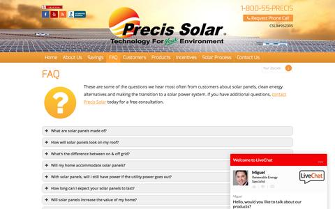 Screenshot of FAQ Page precissolar.com - FAQ | Solar Panel Q&A | Precis Solar - captured July 14, 2016