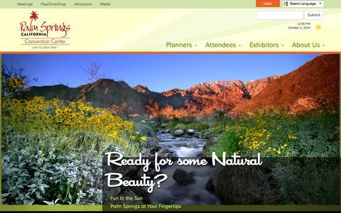 Screenshot of Home Page palmspringscc.com - Palm Springs Convention Center - Palm Springs Convention Center - captured Oct. 1, 2014