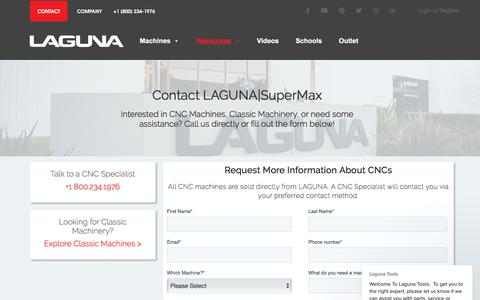 Screenshot of Contact Page lagunatools.com - Contact us for your CNC quote and support! - captured Aug. 14, 2019