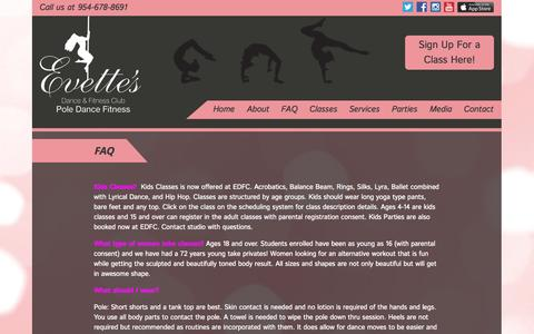 Screenshot of FAQ Page evettesdancefitnessclub.com - FAQ | Evette's Dance Fitness Club - captured Sept. 30, 2014
