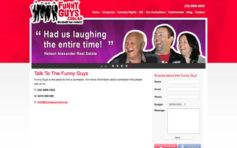 Screenshot of Contact Page funnyguys.com.au - Contact The Comedian Booking Experts | Funny Guys - captured Sept. 4, 2018