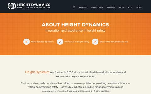 Screenshot of About Page heightdynamics.com.au - All About Height Dynamics - captured Dec. 21, 2018