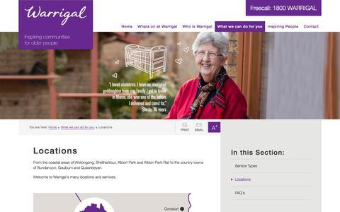 Screenshot of Locations Page warrigal.com.au - Locations - Warrigal - captured Feb. 23, 2016