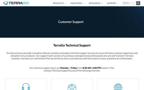 Screenshot of Support Page terragotech.com - Support – TerraGo - captured June 24, 2019