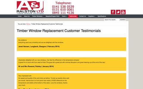 Screenshot of Testimonials Page timberwindowsolutions.co.uk - Timber Window Replacement Customer Testimonials | AJ Ralston  Glasgow  Edinburgh Scotland - captured Nov. 19, 2016