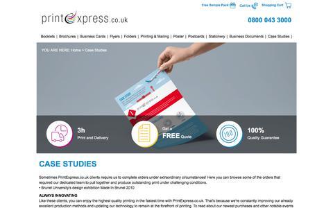 Screenshot of Case Studies Page printexpress.co.uk captured July 18, 2017