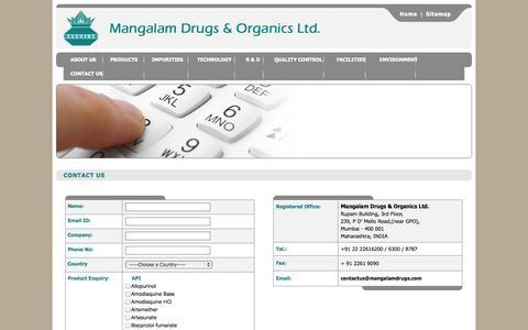 Screenshot of Contact Page mangalamdrugs.com - Welcome to Mangalam Drugs & Organics Ltd. - captured Oct. 4, 2014