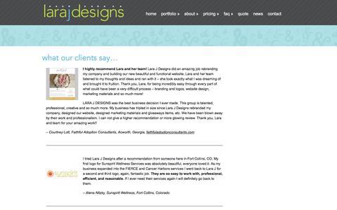 Screenshot of Testimonials Page larajdesigns.com - Client Testimonials   Lara J Designs   Graphic Design    Cartersville, Georgia   Logo, Print, Web   Lara J Designs - captured July 11, 2016