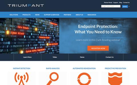 Screenshot of Home Page triumfant.com - Triumfant - Endpoint Security   Malware Detection and Remediation   Detecting Targeted Attacks - captured Nov. 3, 2015