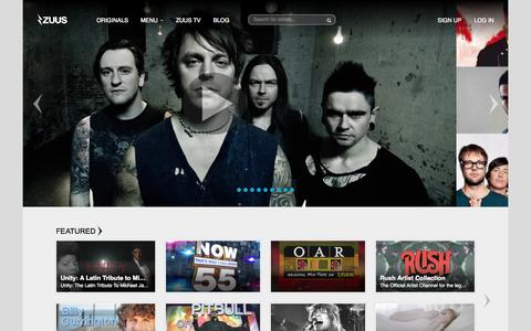 Screenshot of Home Page zuus.com - ZUUS | SEE MORE MUSIC - captured Aug. 10, 2015