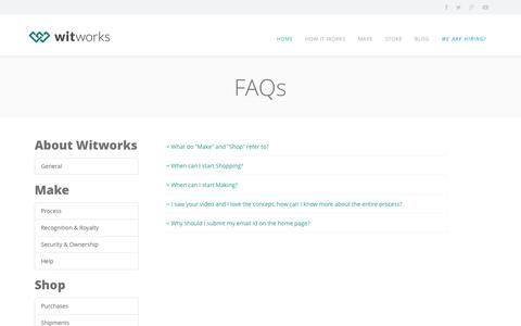 Screenshot of FAQ Page witworks.in - Witworks - captured Nov. 5, 2014