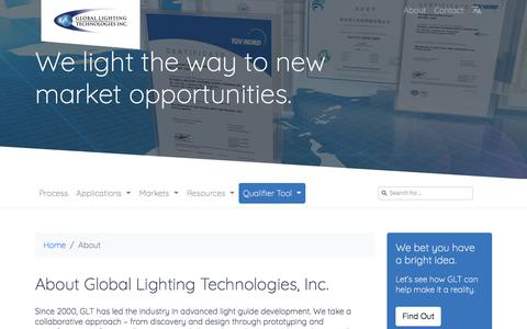 Screenshot of About Page glthome.com - Global Lighting Technologies - About Us - captured Sept. 25, 2018