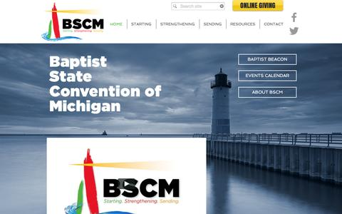 Screenshot of Home Page bscm.org - Michigan Baptists   Home - captured Feb. 7, 2016
