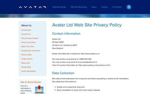 Screenshot of Privacy Page avatar.co.nz - Avatar Privacy Policy : Christchurch Web Site Design, Christchurch Website Design, Christchurch Web Site Design - captured Sept. 19, 2014