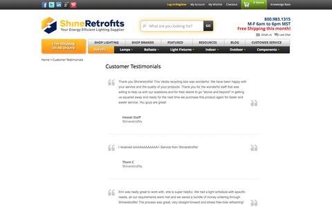 Screenshot of Testimonials Page shineretrofits.com - Customer Testimonials - captured Sept. 23, 2016