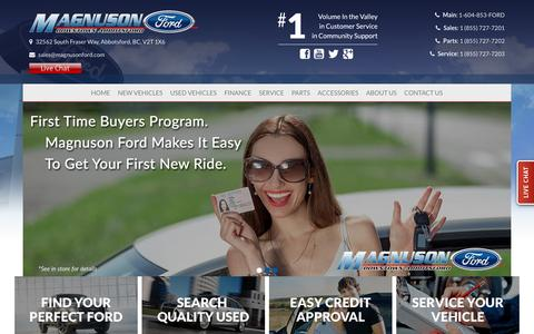 Screenshot of Home Page magnusonford.com - Abbotsford Ford dealer near Langley BC. – New & used cars - captured Feb. 4, 2016