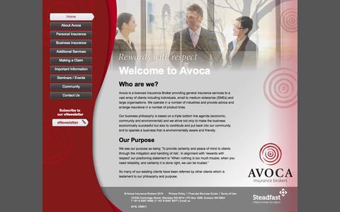 Screenshot of Home Page avoca.com.au - Avoca Insurance Brokers - captured Oct. 4, 2014