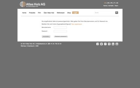 Screenshot of Login Page atlasholz.ch - Atlas Holz AG, Schweiz - Login - captured Oct. 4, 2014