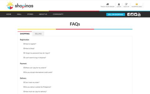 Screenshot of FAQ Page shopinas.com - Frequently Asked Questions - Shopinas - captured June 23, 2017
